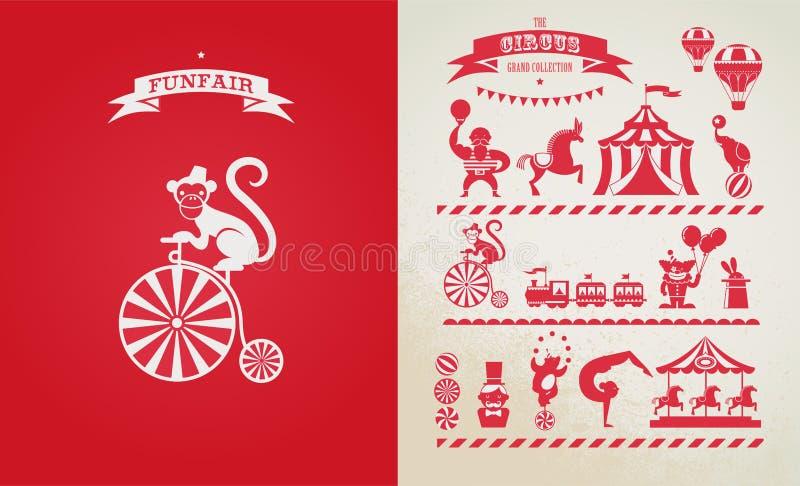 Εκλεκτής ποιότητας αφίσα με καρναβάλι, έκθεση διασκέδασης, τσίρκο ελεύθερη απεικόνιση δικαιώματος