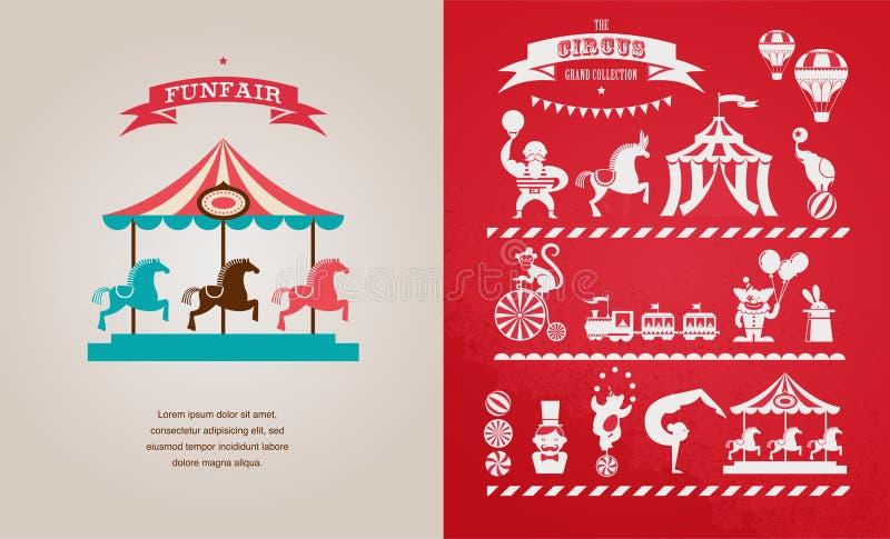 Εκλεκτής ποιότητας αφίσα με καρναβάλι, έκθεση διασκέδασης, τσίρκο απεικόνιση αποθεμάτων