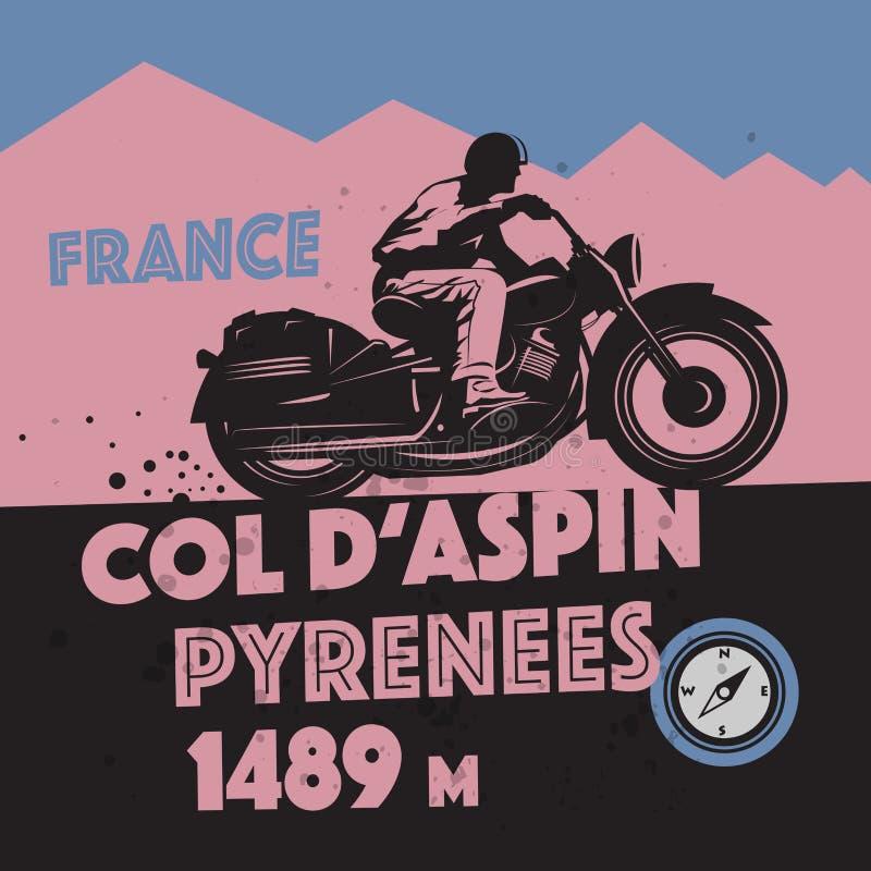 Εκλεκτής ποιότητας αφίσα περιπέτειας μοτοσικλετών διανυσματική απεικόνιση