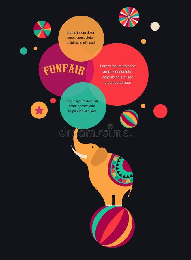 Εκλεκτής ποιότητας αφίσα τσίρκων, υπόβαθρο με τον ελέφαντα απεικόνιση αποθεμάτων