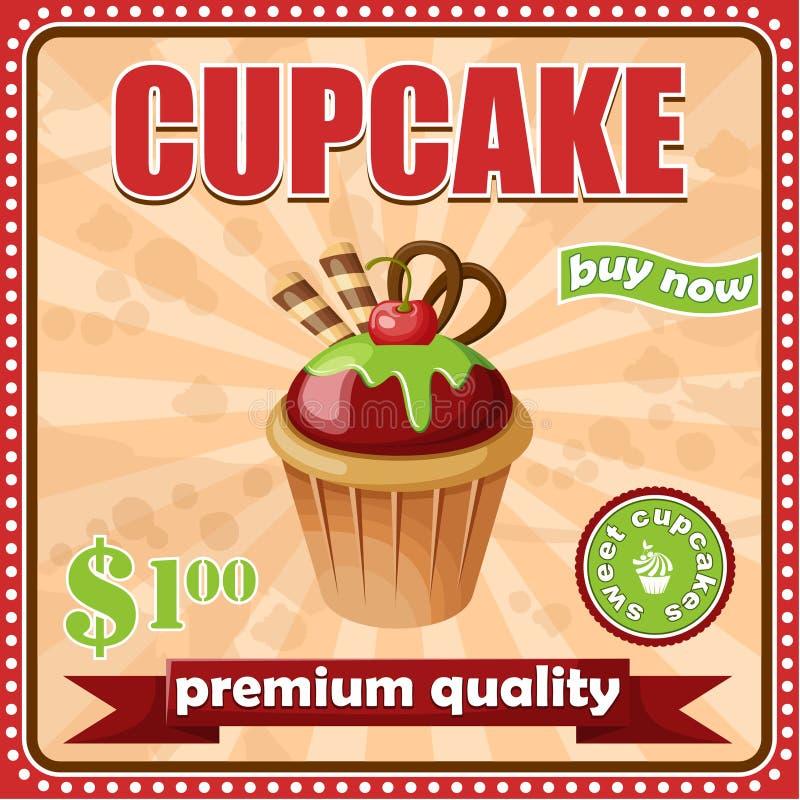 Εκλεκτής ποιότητας αφίσα cupcake απεικόνιση αποθεμάτων