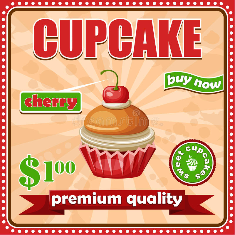 Εκλεκτής ποιότητας αφίσα cupcake διανυσματική απεικόνιση