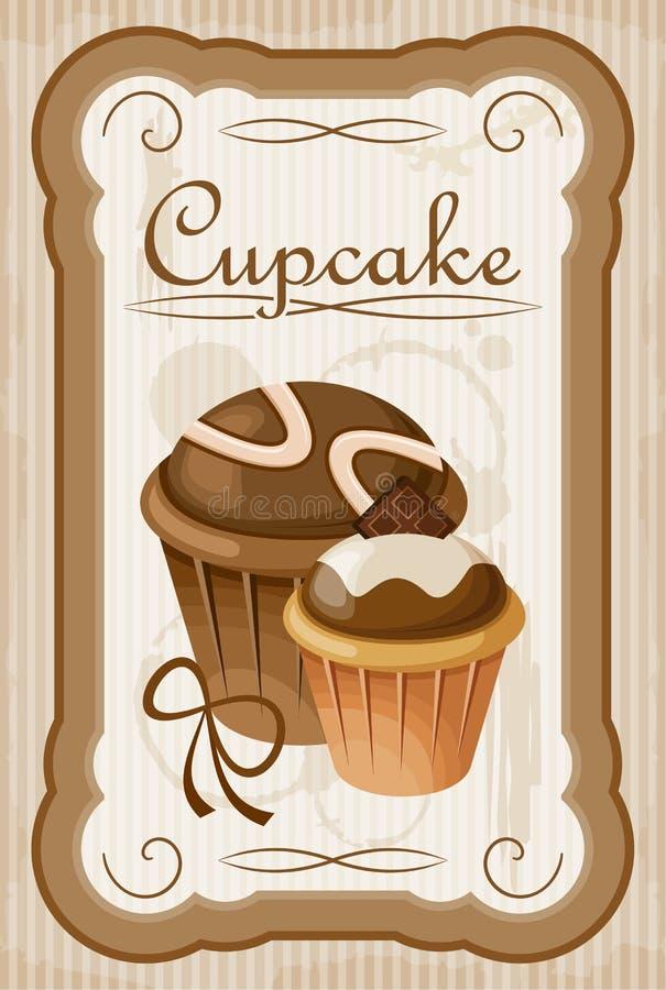 Εκλεκτής ποιότητας αφίσα cupcake ελεύθερη απεικόνιση δικαιώματος