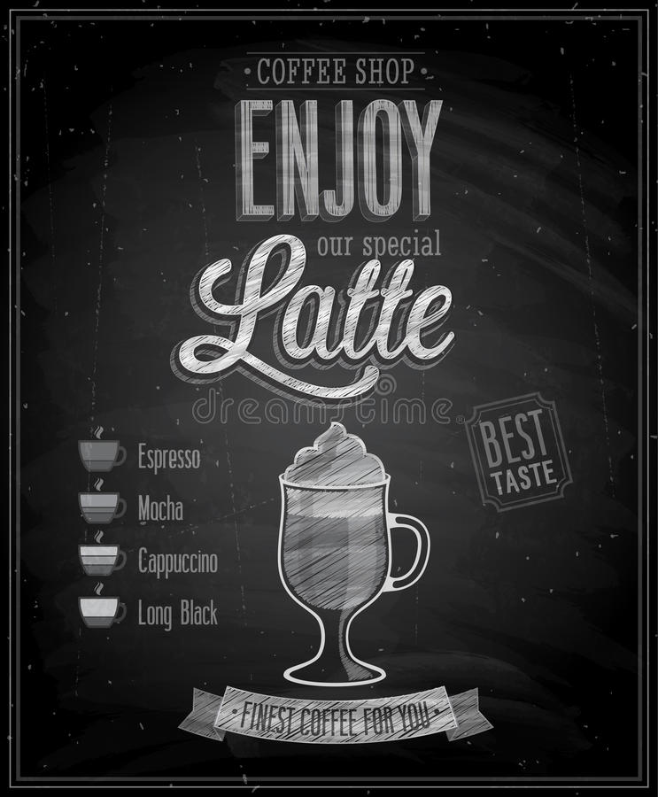 Εκλεκτής ποιότητας αφίσα Latte - πίνακας κιμωλίας. ελεύθερη απεικόνιση δικαιώματος