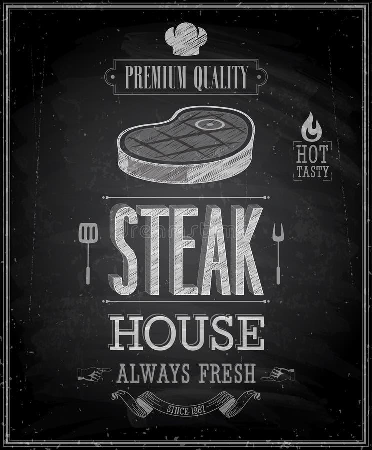 Εκλεκτής ποιότητας αφίσα Steakhouse - πίνακας κιμωλίας. ελεύθερη απεικόνιση δικαιώματος