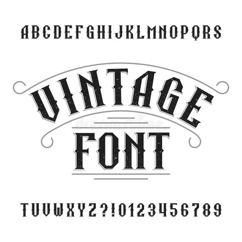 Εκλεκτής ποιότητας αλφάβητο Αναδρομικοί στενοχωρημένοι επιστολές και αριθμοί διανυσματική απεικόνιση