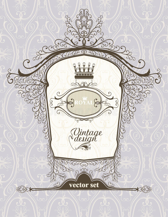 Εκλεκτής ποιότητας βασιλικό πλαίσιο. διανυσματική απεικόνιση