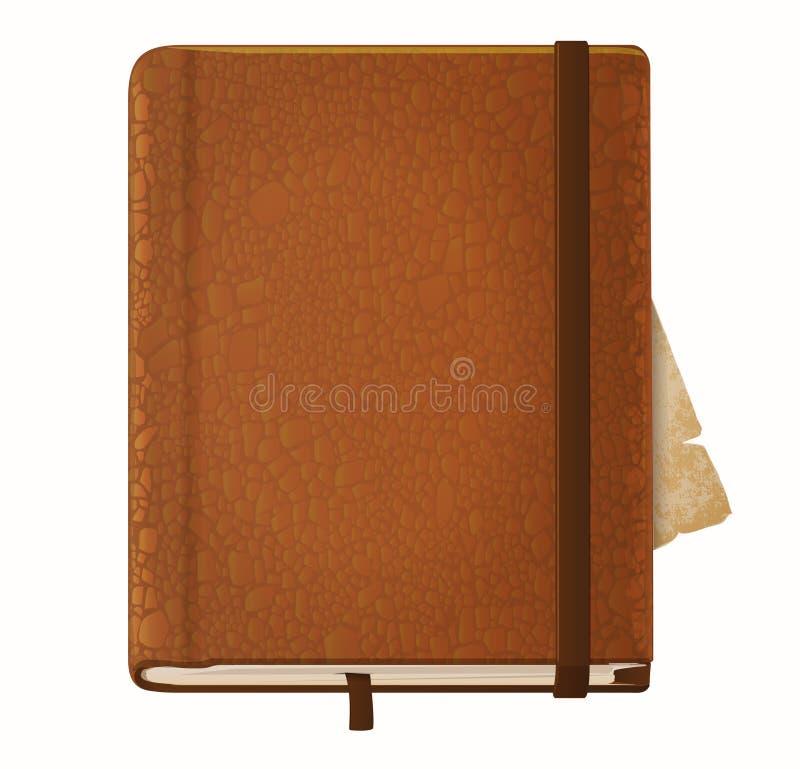 Εκλεκτής ποιότητας βιβλίο σημειώσεων δέρματος απεικόνιση αποθεμάτων