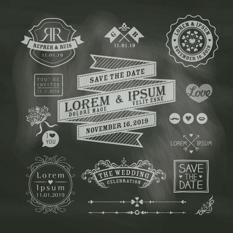 Εκλεκτής ποιότητας γαμήλια πλαίσια στο υπόβαθρο πινάκων κιμωλίας διανυσματική απεικόνιση