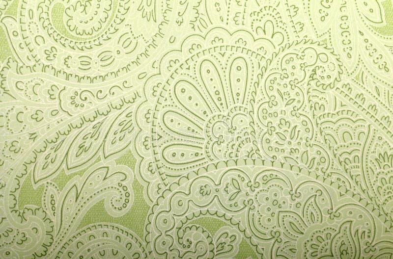 Εκλεκτής ποιότητας γκρίζα και πράσινη ταπετσαρία με το σχέδιο του Paisley στοκ εικόνες με δικαίωμα ελεύθερης χρήσης