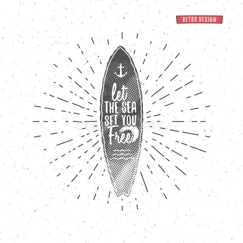 Εκλεκτής ποιότητας γραφική παράσταση και αφίσα σερφ για το σχέδιο ή την τυπωμένη ύλη Ιστού Surfer, εγγραφή ύφους παραλιών Διακριτ ελεύθερη απεικόνιση δικαιώματος