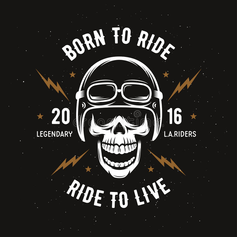 Εκλεκτής ποιότητας γραφική παράσταση μπλουζών μοτοσικλετών Γεννημένος να οδηγήσει Γύρος για να ζήσει επίσης corel σύρετε το διάνυ διανυσματική απεικόνιση