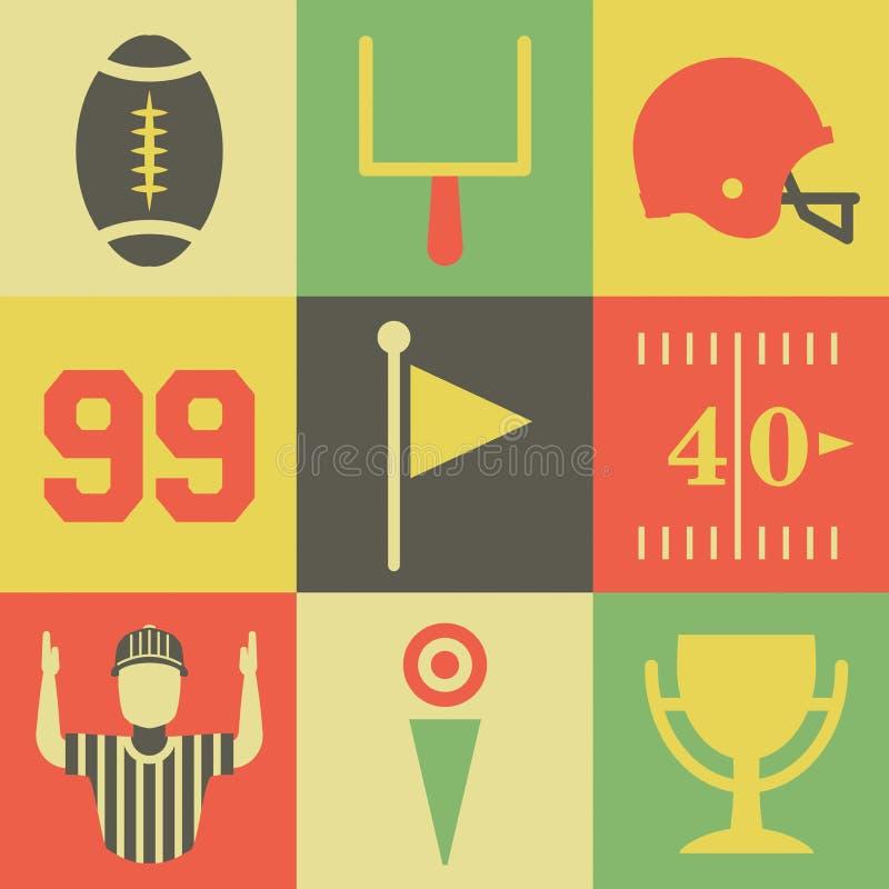 Εκλεκτής ποιότητας εικονίδια αμερικανικού ποδοσφαίρου ελεύθερη απεικόνιση δικαιώματος