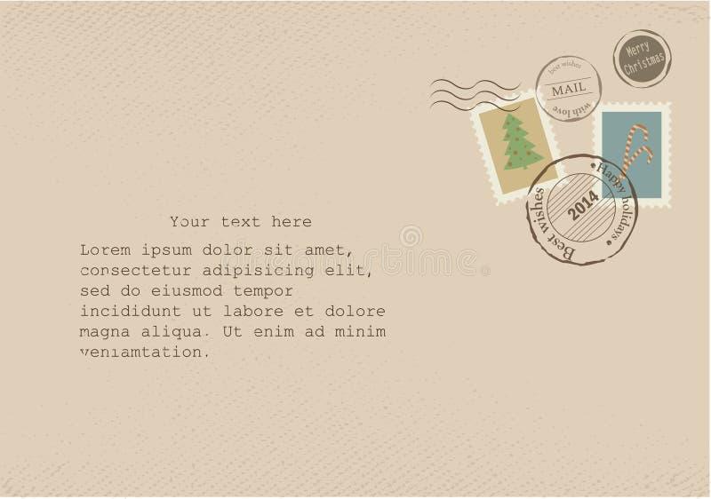 Εκλεκτής ποιότητας επιστολή σε παλαιό χαρτί με τις αναδρομικές ταχυδρομικές σφραγίδες απεικόνιση αποθεμάτων