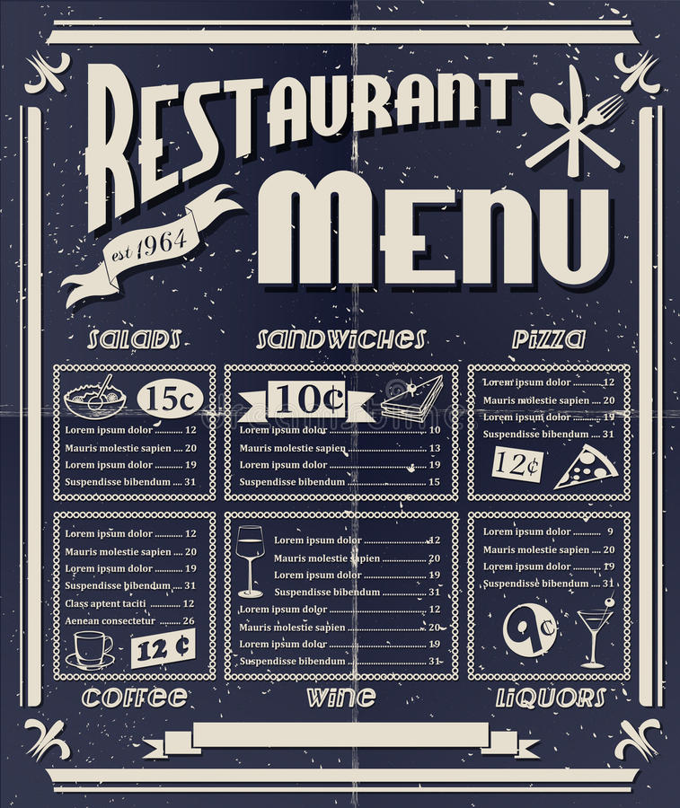 Εκλεκτής ποιότητας επιλογές εστιατορίων απεικόνιση αποθεμάτων