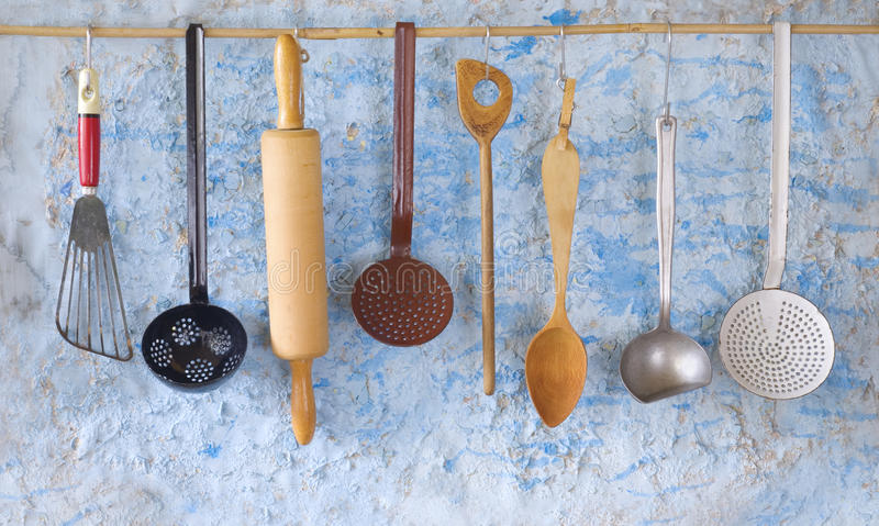 Εκλεκτής ποιότητας εργαλεία κουζινών στοκ φωτογραφίες