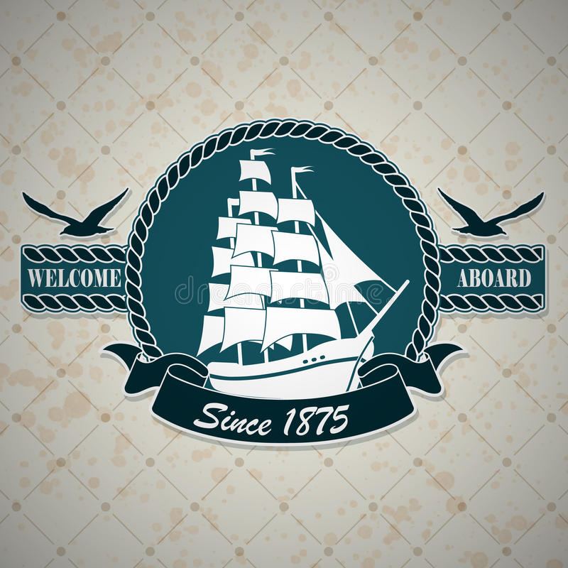 Εκλεκτής ποιότητας ετικέτα με ένα ναυτικό θέμα στοκ εικόνα με δικαίωμα ελεύθερης χρήσης