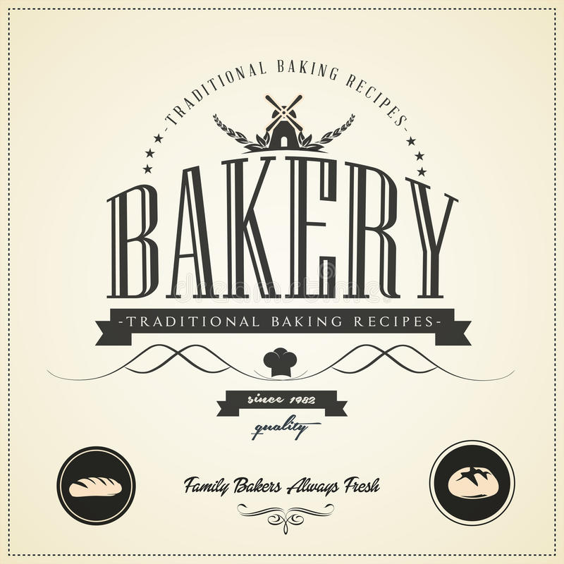Εκλεκτής ποιότητας ετικέτες αρτοποιείων, διακριτικά και στοιχεία σχεδίου διανυσματική απεικόνιση