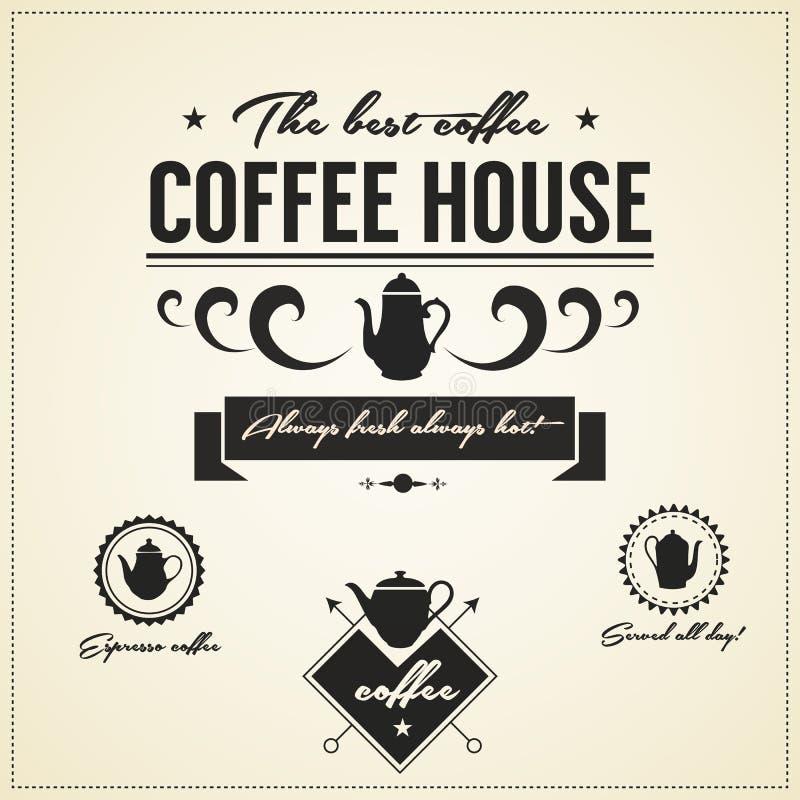Εκλεκτής ποιότητας ετικέτες και εικονίδια σπιτιών καφέ διανυσματική απεικόνιση