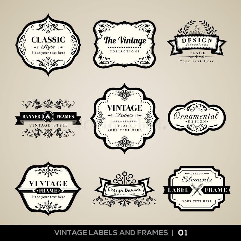 Εκλεκτής ποιότητας ετικέτες και πλαίσια διανυσματική απεικόνιση
