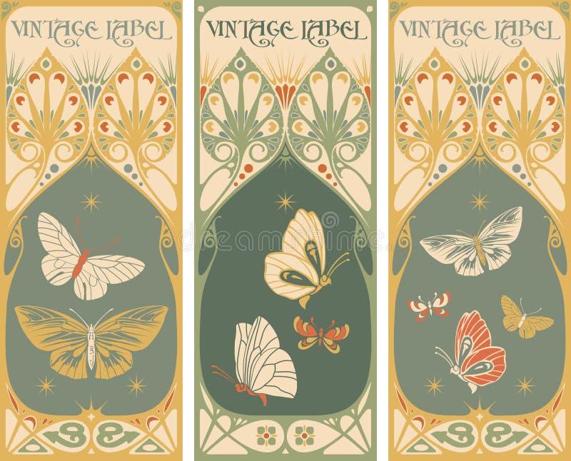 Εκλεκτής ποιότητας ετικέτες: πεταλούδα - πλαίσιο nouveau τέχνης απεικόνιση αποθεμάτων
