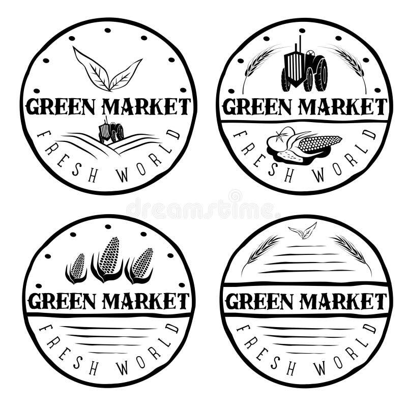Εκλεκτής ποιότητας ετικέτες της πράσινης αγοράς με το τρακτέρ και το λαχανικό διανυσματική απεικόνιση