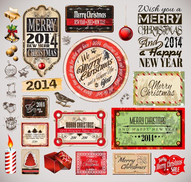 Εκλεκτής ποιότητας ετικέτες Χριστουγέννων 2014 και τυπο συλλογή απεικόνιση αποθεμάτων