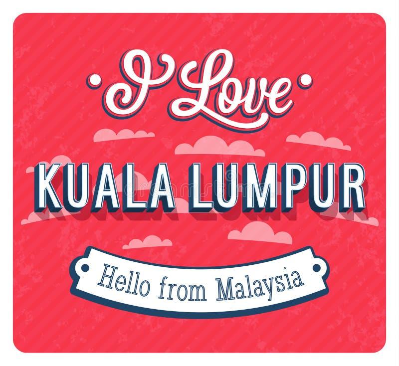 Εκλεκτής ποιότητας ευχετήρια κάρτα από τη Κουάλα Λουμπούρ - τη Μαλαισία διανυσματική απεικόνιση