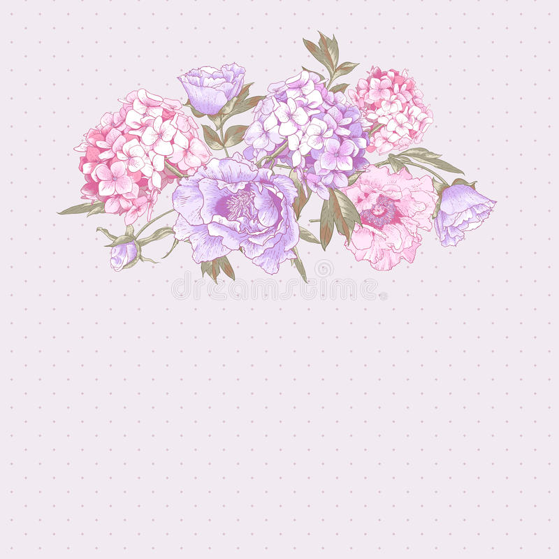 Εκλεκτής ποιότητας ευχετήρια κάρτα με Hydrangea και Peonies ελεύθερη απεικόνιση δικαιώματος