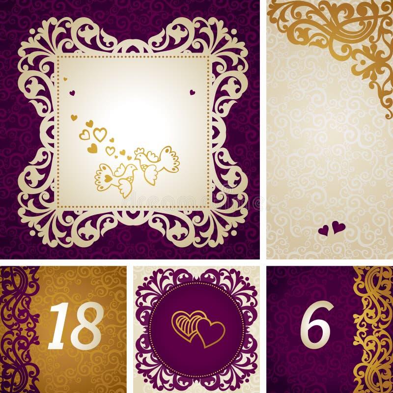 Εκλεκτής ποιότητας ευχετήριες κάρτες με τους στροβίλους και τα floral μοτίβα στο αναδρομικό ύφος. διανυσματική απεικόνιση