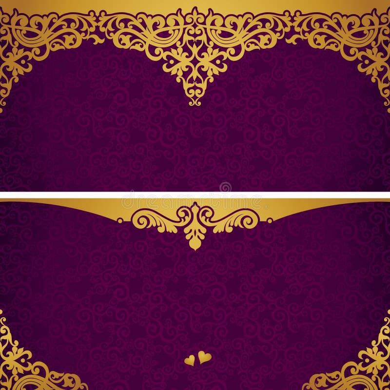 Εκλεκτής ποιότητας ευχετήριες κάρτες με τους στροβίλους και τα floral μοτίβα στο αναδρομικό ύφος. απεικόνιση αποθεμάτων