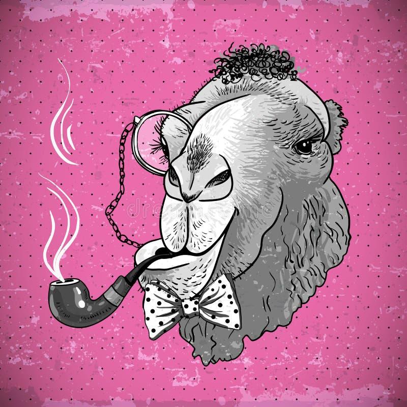 Εκλεκτής ποιότητας ζωική καμήλα Hipster καρτών με το σωλήνα διανυσματική απεικόνιση