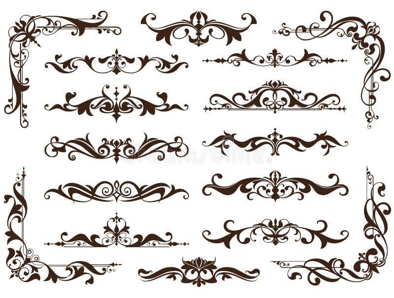 Εκλεκτής ποιότητας διακοσμήσεων σχεδίου στοιχείων floral αυτοκόλλητες ετικέττες γωνιών πλαισίων συγκρατήσεων υποβάθρου curlicues  διανυσματική απεικόνιση