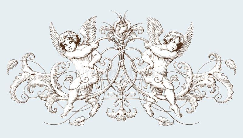 Εκλεκτής ποιότητας διακοσμητική χάραξη στοιχείων με το μπαρόκ σχέδιο διακοσμήσεων και cupids ελεύθερη απεικόνιση δικαιώματος