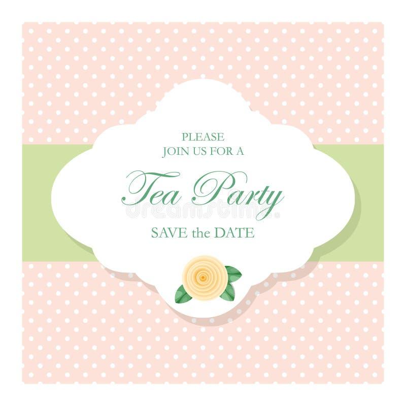 Εκλεκτής ποιότητας διακοσμητικό πλαίσιο με το κείμενο δείγμα στο υπόβαθρο σημείων Πόλκα Για το γάμο, γενέθλια, νυφικό ντους, λεύκ ελεύθερη απεικόνιση δικαιώματος