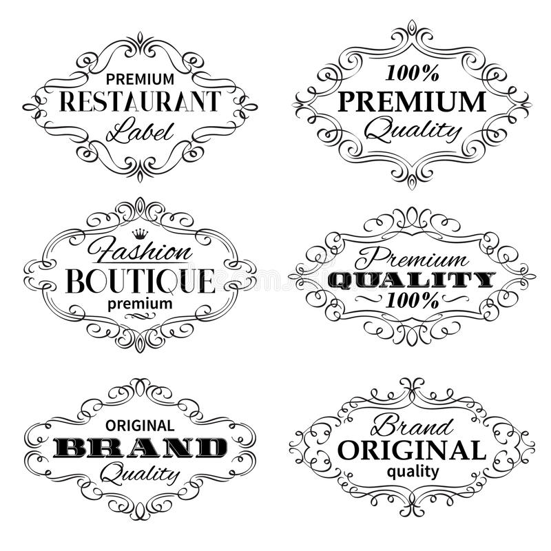 Εκλεκτής ποιότητας διανυσματικά πλαίσια ετικετών εμβλημάτων ελεύθερη απεικόνιση δικαιώματος