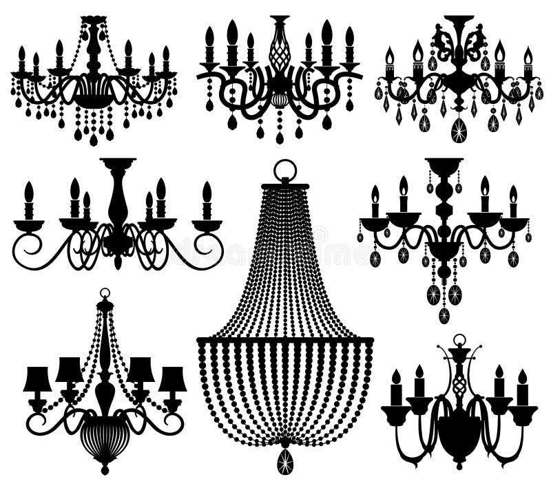 Εκλεκτής ποιότητας διανυσματικές σκιαγραφίες πολυελαίων κρυστάλλου που απομονώνονται στο λευκό απεικόνιση αποθεμάτων