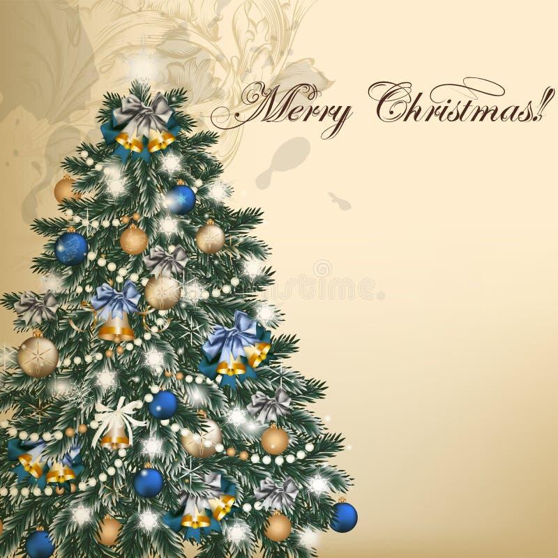 Εκλεκτής ποιότητας διανυσματική ευχετήρια κάρτα Χριστουγέννων με το χριστουγεννιάτικο δέντρο απεικόνιση αποθεμάτων