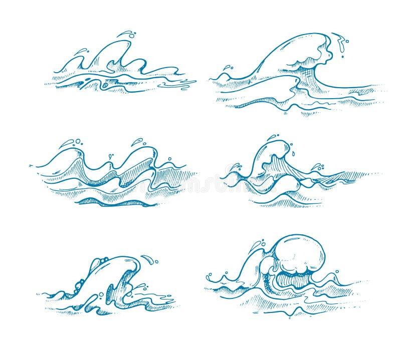 Εκλεκτής ποιότητας διανυσματικό σύνολο κυμάτων θάλασσας που σύρεται υπό εξέταση, σκίτσο, doodle ύφος διανυσματική απεικόνιση