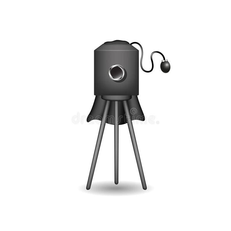 Εκλεκτής ποιότητας κάμερα στο μαύρο σχέδιο διανυσματική απεικόνιση