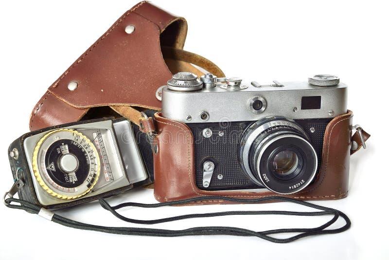 Εκλεκτής ποιότητας κάμερα φωτογραφιών και μετρητής έκθεσης στοκ εικόνες