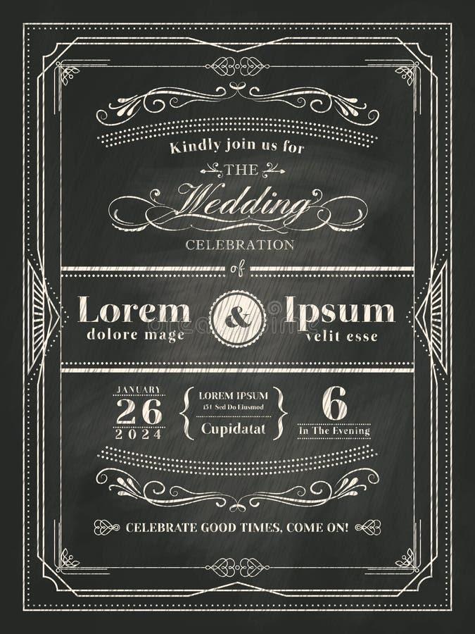 Εκλεκτής ποιότητας κάρτα γαμήλιας πρόσκλησης πλαισίων στο μαύρο πίνακα κιμωλίας ελεύθερη απεικόνιση δικαιώματος