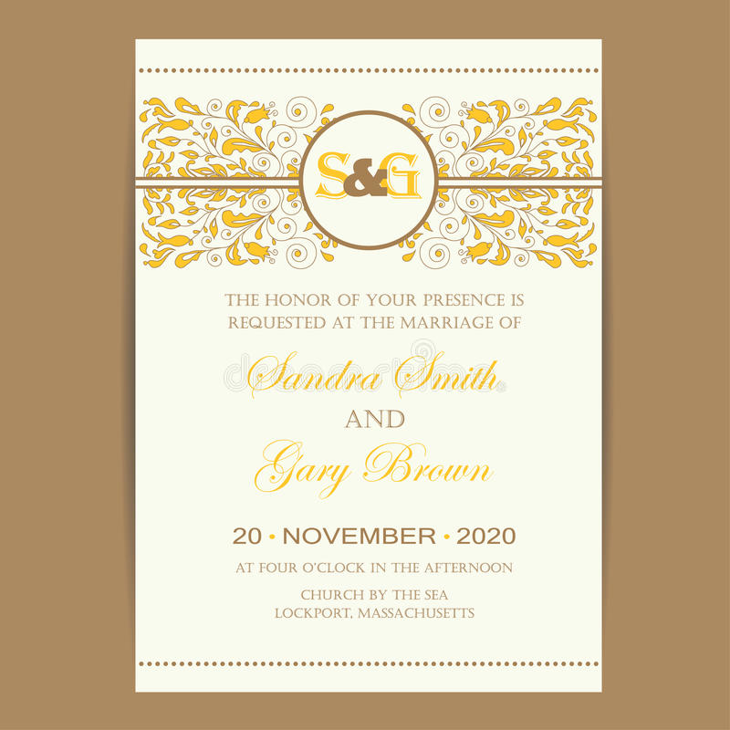 Εκλεκτής ποιότητας κάρτα γαμήλιας πρόσκλησης ελεύθερη απεικόνιση δικαιώματος