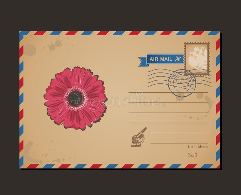 Εκλεκτής ποιότητας κάρτα και γραμματόσημα Λουλούδι σχεδίου απεικόνιση αποθεμάτων