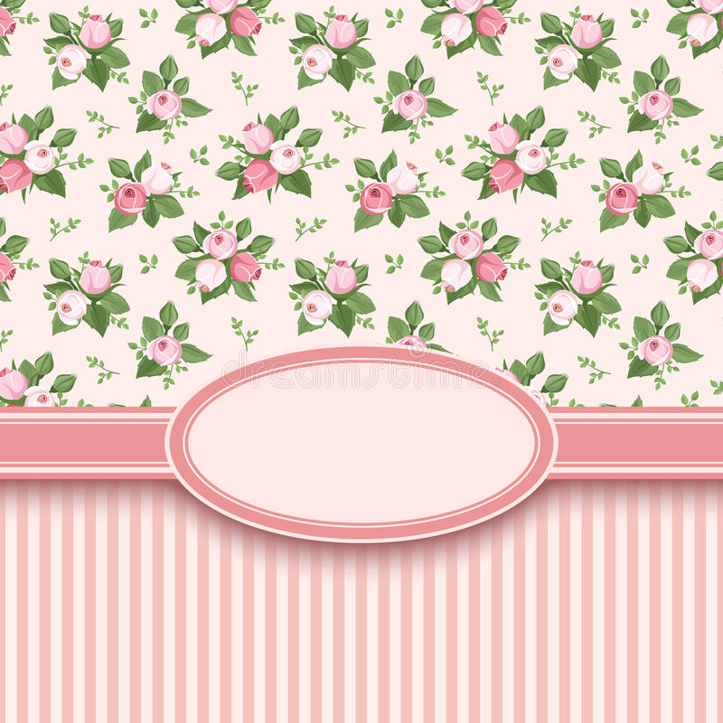 Εκλεκτής ποιότητας κάρτα με τα τριαντάφυλλα και τα λωρίδες. ελεύθερη απεικόνιση δικαιώματος