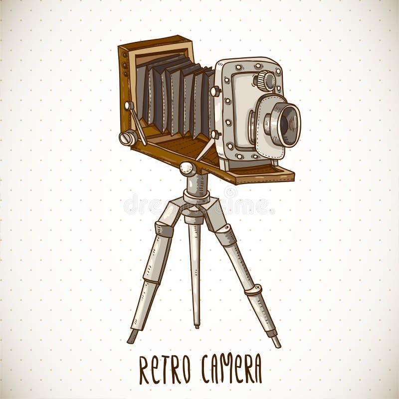 Εκλεκτής ποιότητας κάρτα με την αναδρομική κάμερα διανυσματική απεικόνιση
