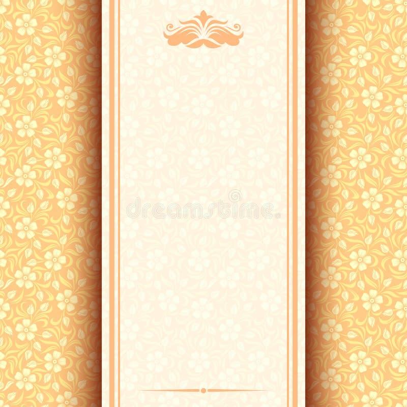 Εκλεκτής ποιότητας κάρτα με το floral σχέδιο. ελεύθερη απεικόνιση δικαιώματος
