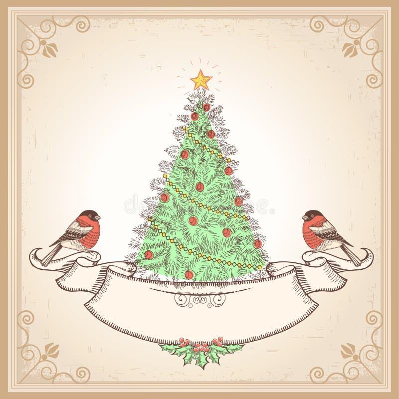 Εκλεκτής ποιότητας κάρτα Χριστουγέννων με τα bullfinches. Διάνυσμα άρρωστο ελεύθερη απεικόνιση δικαιώματος