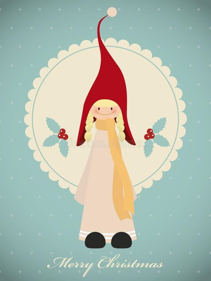 Εκλεκτής ποιότητας κάρτα Χριστουγέννων με το χαριτωμένο στοιχειό κοριτσιών διανυσματική απεικόνιση