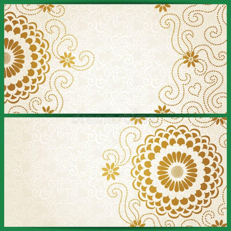 Εκλεκτής ποιότητας κάρτες πρόσκλησης με τα μεγάλες λουλούδια και τις μπούκλες. ελεύθερη απεικόνιση δικαιώματος